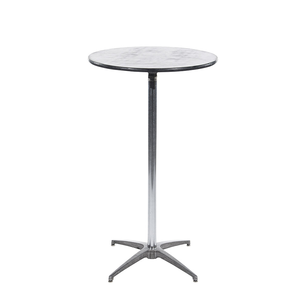 24 Inch Black Marble Round Top Table