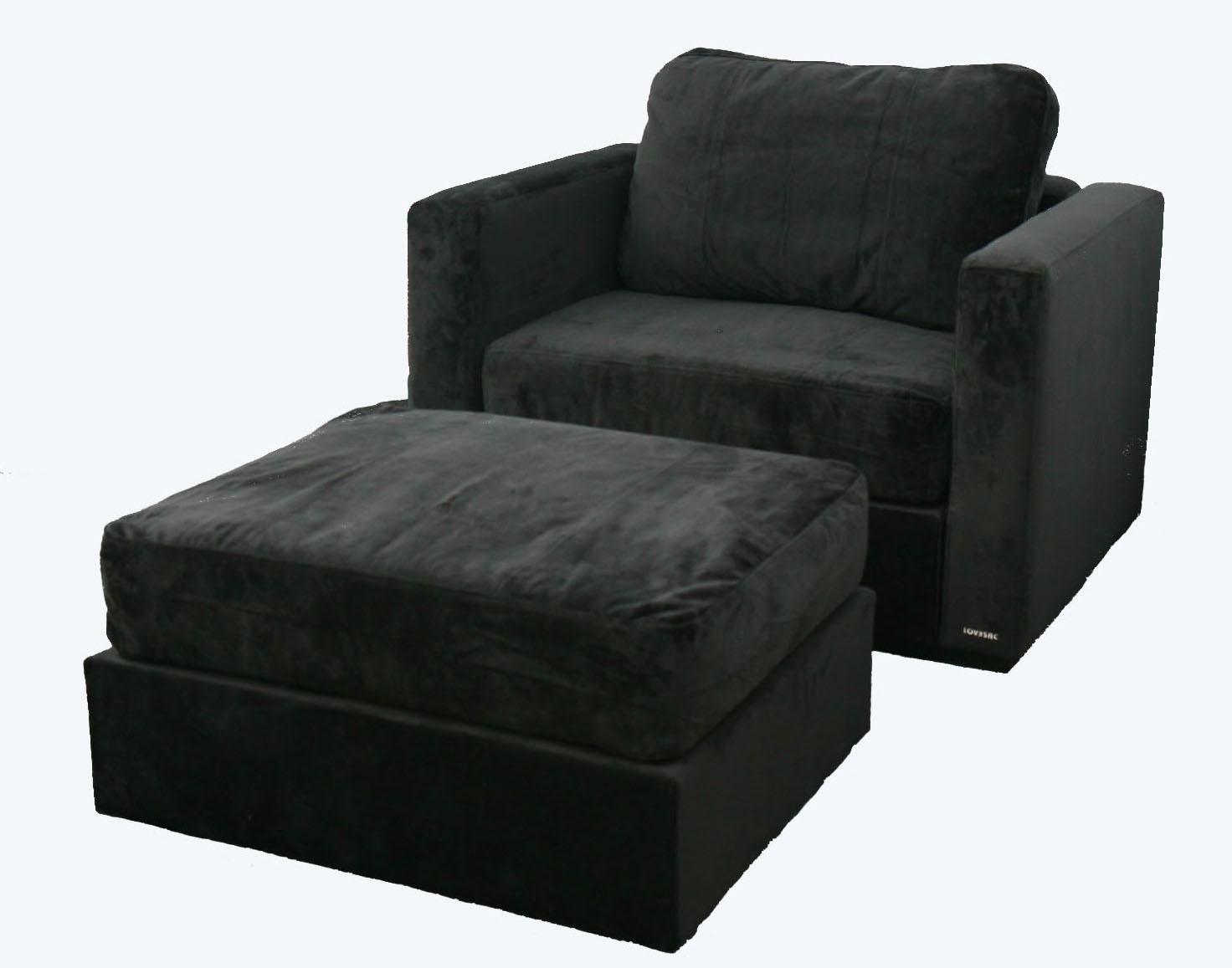 Lovesac Black Armchair with Ottoman