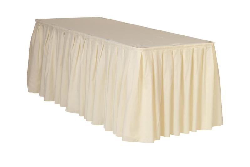ivory table skirt
