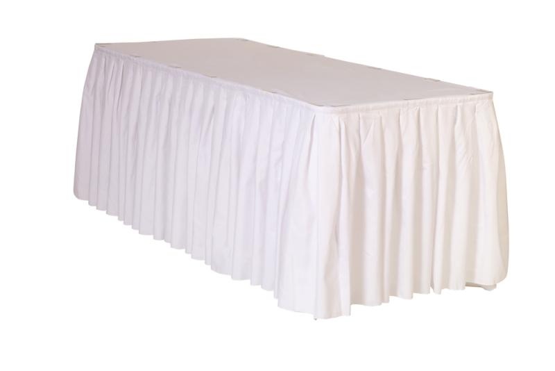 white table skirt