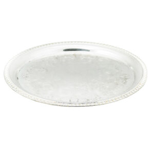 19 Inch Round Silver Tray