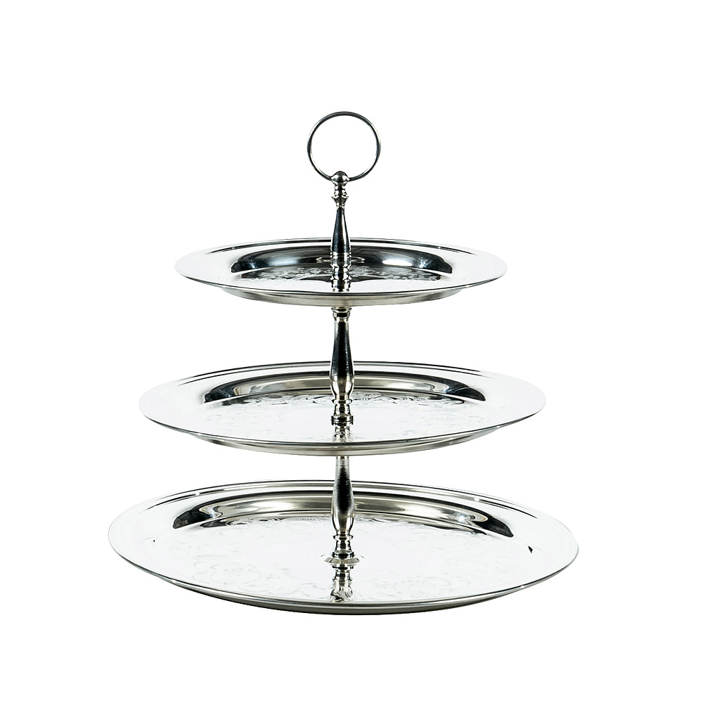 3 Tier Large Silver Round Tray