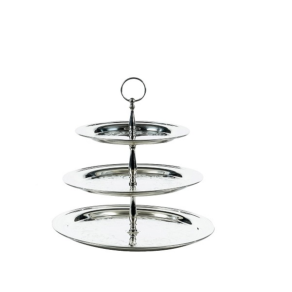 3 Tier Small Silver Round Tray