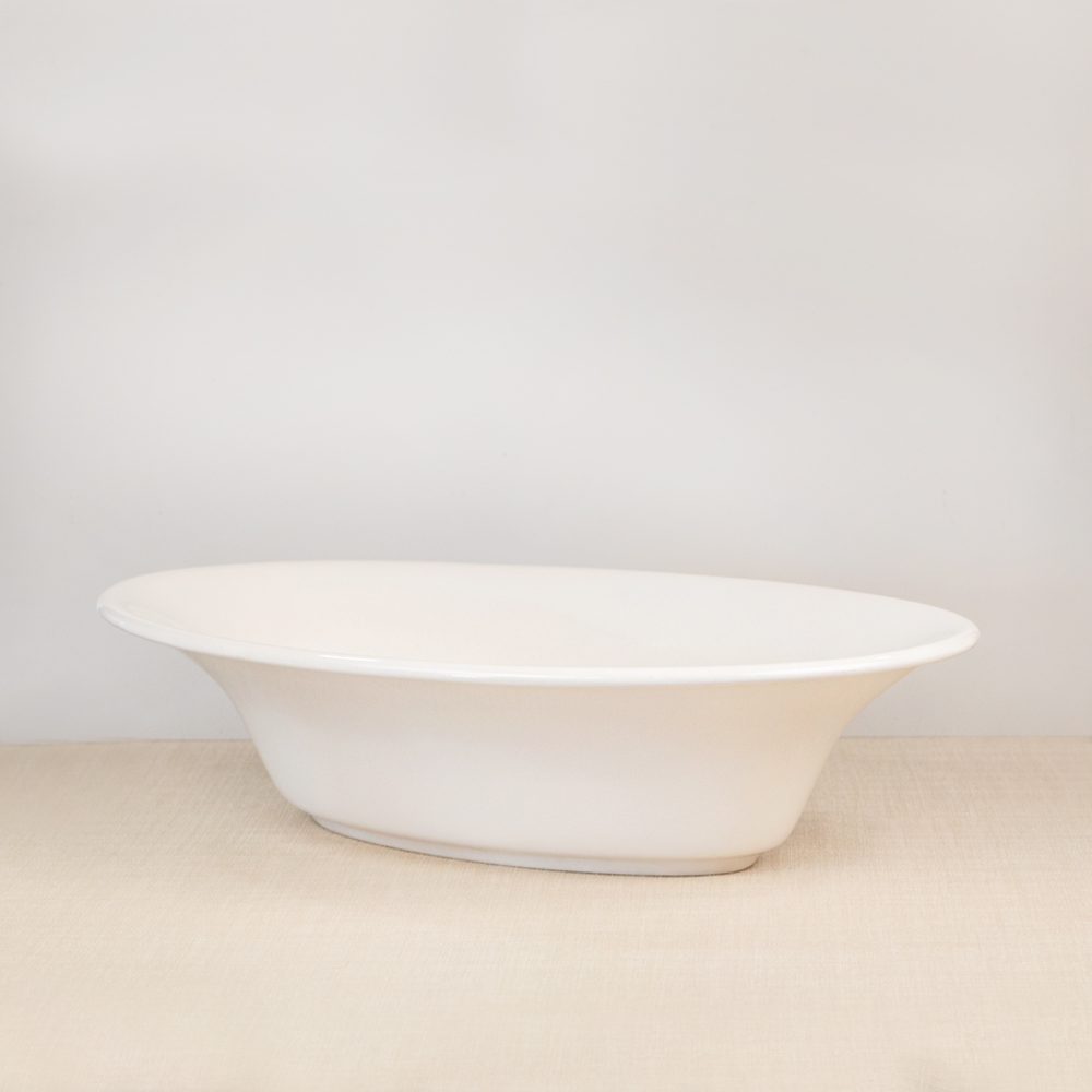 Large White Oval Bowl