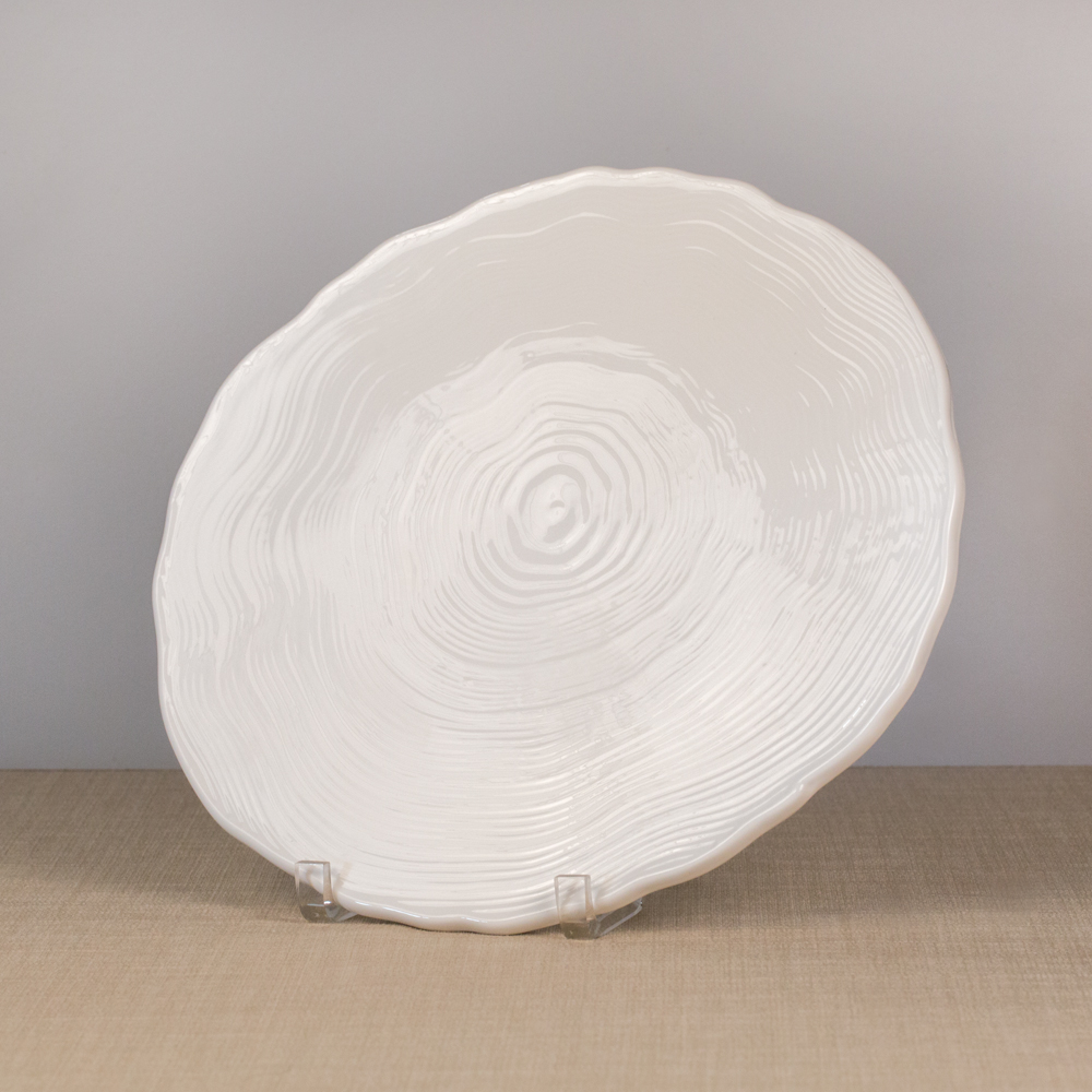 White China Round Wood Grain Platter