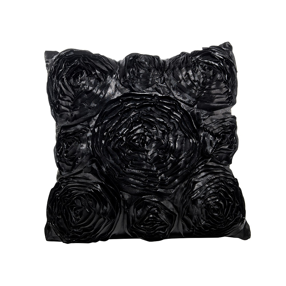 Lounge Pillow Black Rosette Oblong