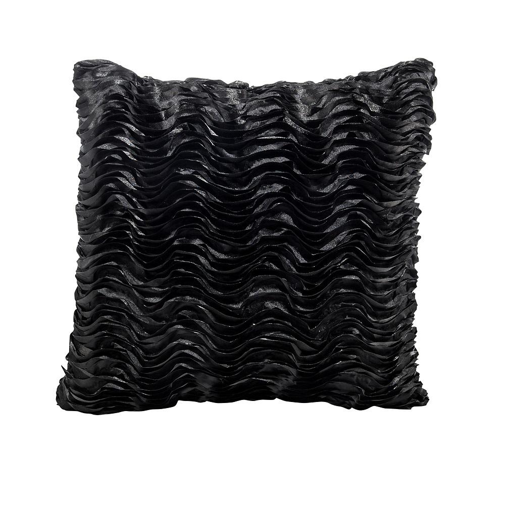 Lounge Pillow Black Wave Square