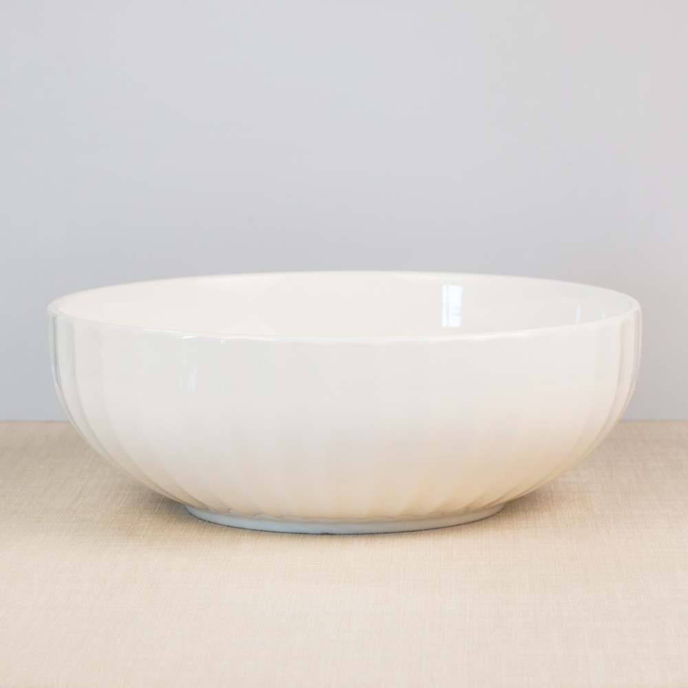 White Faceted Serving Bowl
