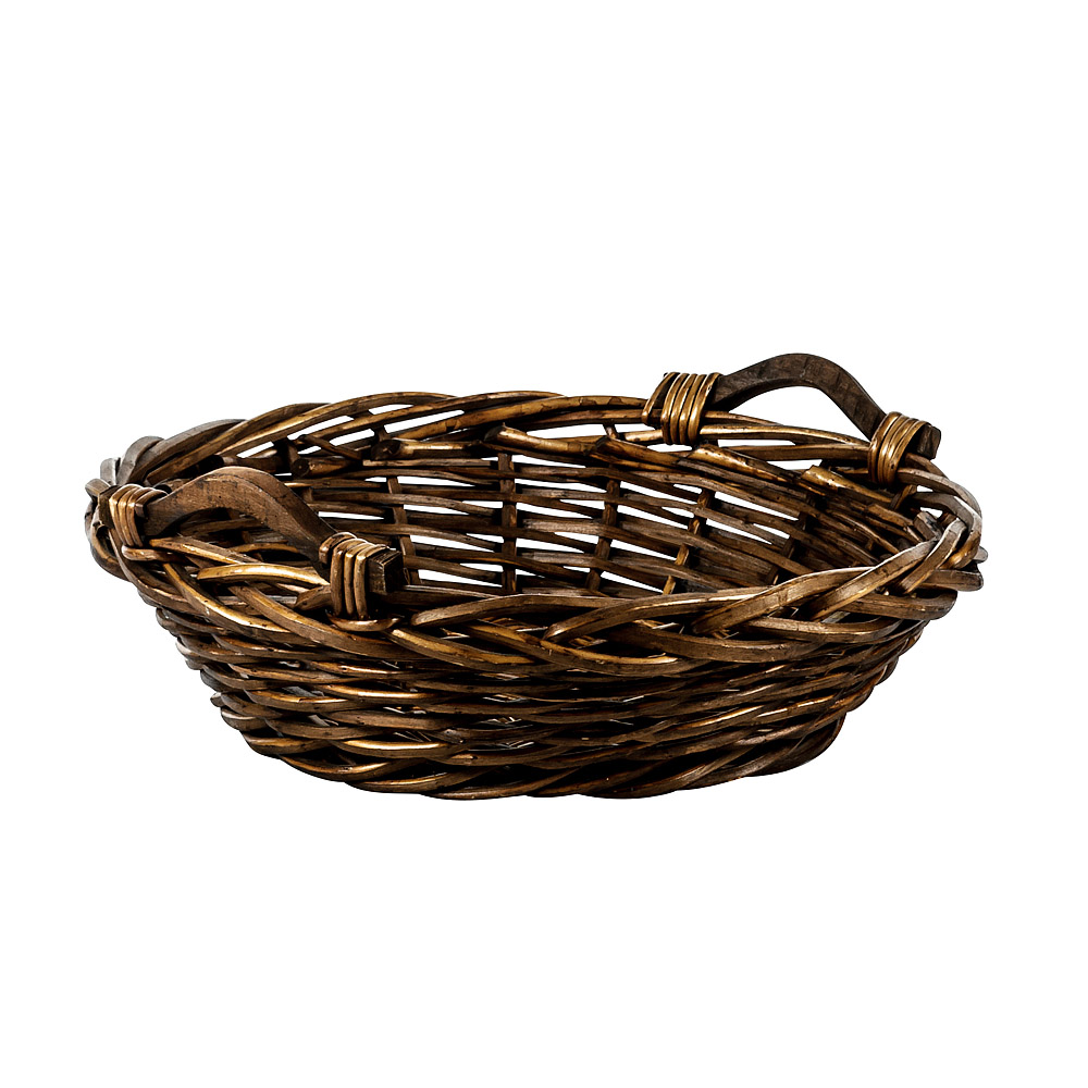 Medium Round Basket with Wood Handles