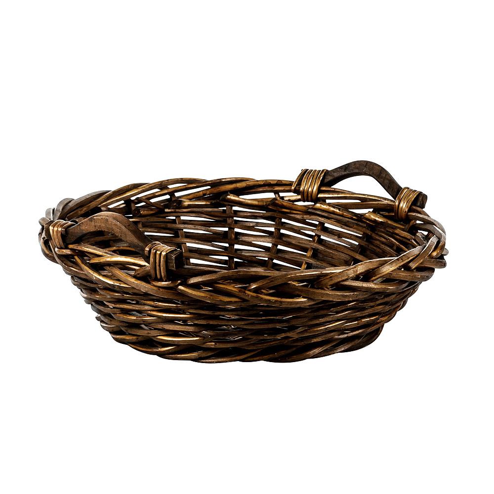 Medium Round Basket with Wood Handles