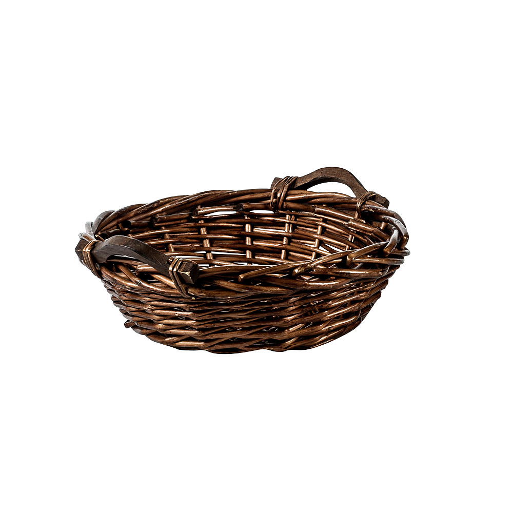 Small Round Basket with Wood Handles