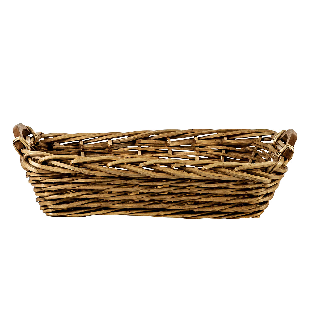 Narrow Rectangular Basket With Wooden Handles American