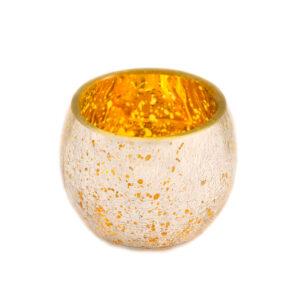 Silver & Gold Large Crackle Votive