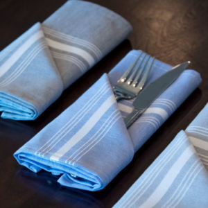 Blue Chambray Stripe Bistro Napkin