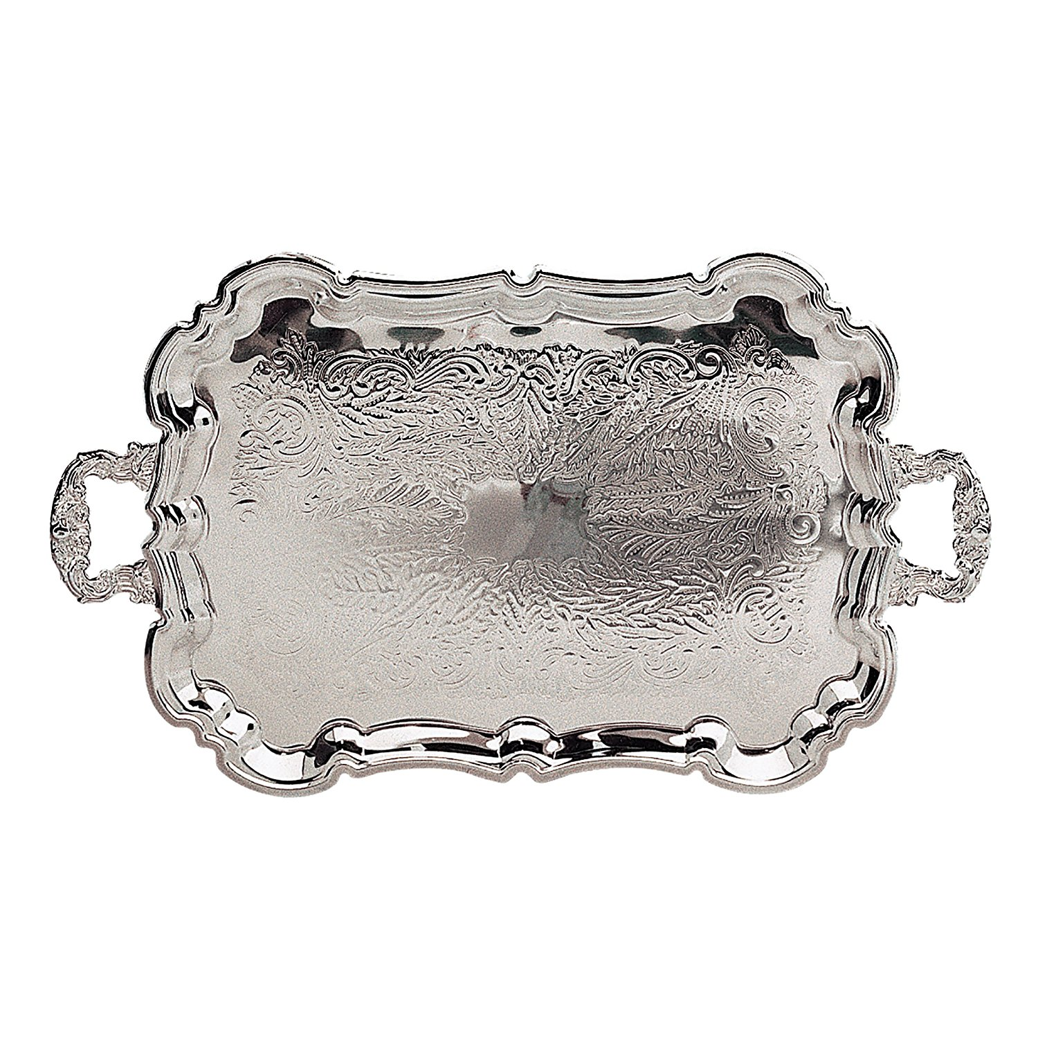 "23"" x 14"" Silver Footed Tray with Handles"