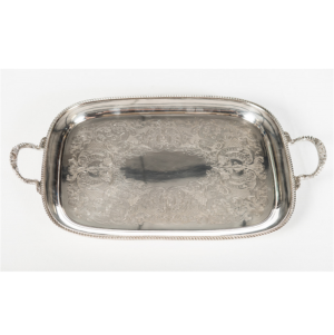"18"" x 13"" Silver Footed Tray with Handles"