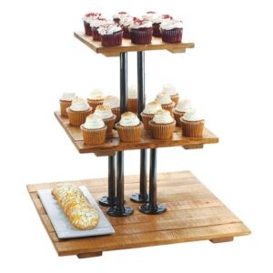 3-Tier Vintage Wood Square Tray