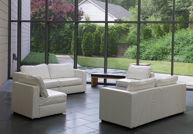 White Leather Lovesac American Party Rentals